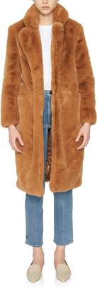 Apparis Laure Long Camel Faux Fur Coat