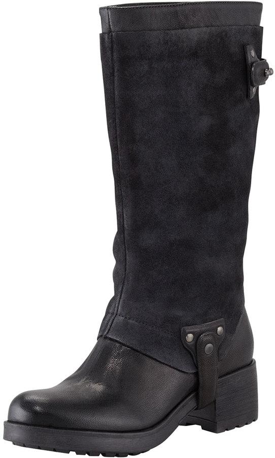 Vera Wang Essie Suede-Shaft Harness Boot, Black