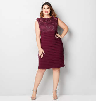 Avenue Wine Sequin Shutter Pleat Dress