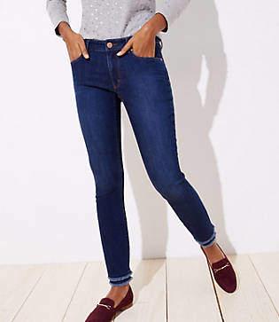 LOFT Curvy Double Frayed Skinny Jeans in Dark Indigo Wash