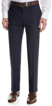 Canali Solid Wool Flat-Front Pants, Blue