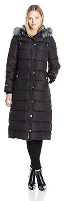Nautica Women's Long Maxi Puffer Coat with Faux Fur Trim Hood $165 thestylecure.com
