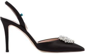 Sarah Jessica Parker 90mm Sana Embellished Satin Sling Backs