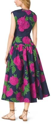 Michael Kors Peony-Embroidered Silk-Wool Mikado Plunge Dress