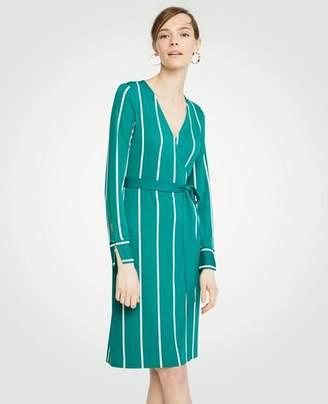 Ann Taylor Petite Striped Button Cuff Wrap Dress