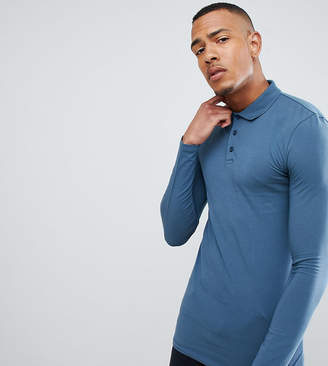 Asos DESIGN Tall muscle fit long sleeve polo in jersey in blue