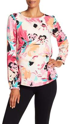 Nine West Floral Long Sleeve Blouse