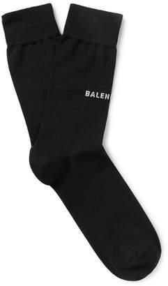 Balenciaga Logo-Intarsia Stretch Cotton-Blend Socks