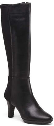 Stretch Back Knee High Leather Boots