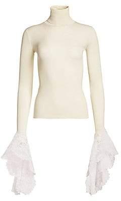 Escada Women's Ribbed Lace-Cuff Silk Turtleneck Sweater