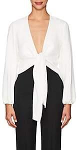 Lisa Perry Women's Crepe Wrap Top - White