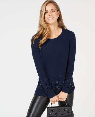 Charter Club Sequin-Embellished Pure Cashmere Sweater