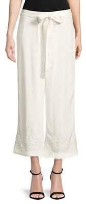Karl Lagerfeld Paris Lace-Trimmed Wide-Leg Pants