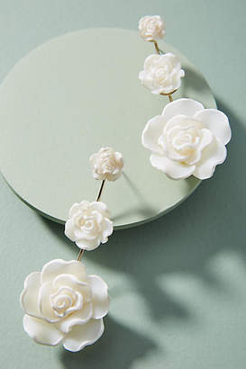Dannijo White Rose Drop Earrings