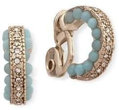 Jenny Packham Crystal and Bead Mini Hoop Earrings