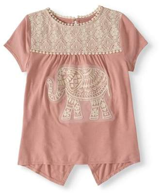 Miss Chievous Girls' 7-16 Crochet Open Back Babydoll Top