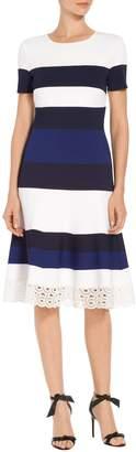 St. John Striped Luxe Sculpture Knit Dress