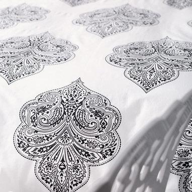 Paisley Print Duvet - Black/White