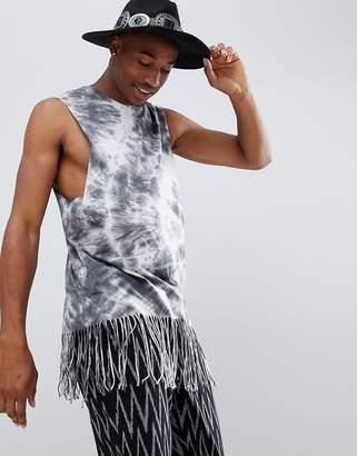 Asos Design DESIGN festival super longline sleeveless t-shirt with hem fringing in spiral tie dye