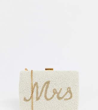 Accessorize Mrs embellished bridal box clutch bag