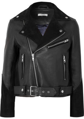 Ganni Lloyd Suede-paneled Textured-leather Biker Jacket - Black