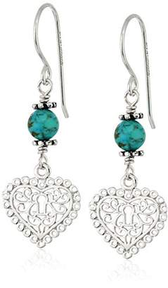Lapis Sterling Silver Filigree Heart Chalcedony Drop Earrings