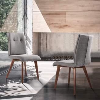 Marelana JordanMid-Century Dining Chair in Walnut Finish and Gray Fabric - Set of 2