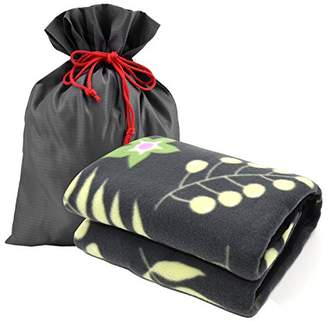 """Forestfish Fleece Throw Blanket Cozy Soft Portable Travel Blanket Compact for Long Car Airplane Train Rides60"""" x 40"""""""