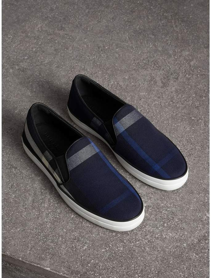 Burberry Overdyed House Check Cotton Slip-on Trainers