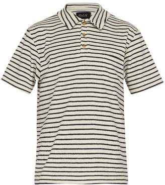 Howlin' - Six Blade Knife Striped Terry Towelling Polo Shirt - Mens - White Navy