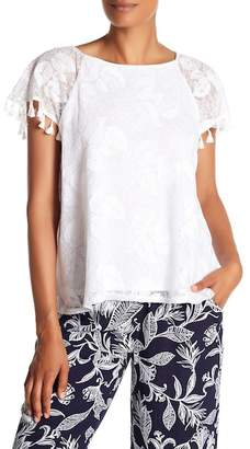 Laundry by Shelli Segal Embroidered Tassel Trim Tee