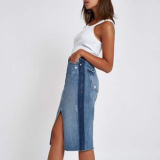River Island Mid blue premium split front denim midi skirt