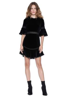 Alice + Olivia Doloris Bell Sleeve Velvet Dress