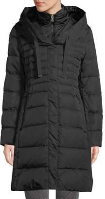 Tahari Mia Long Puffer Coat w/ Bib