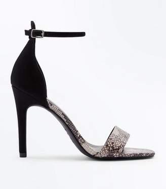 New Look Black Faux Snakeskin Two Part Barely There Heels