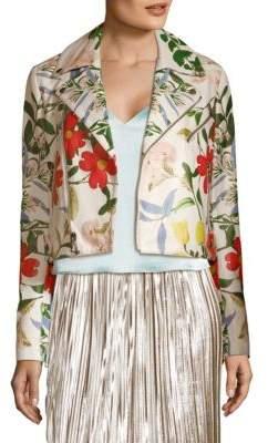 Alice + Olivia Floral Leather Jacket