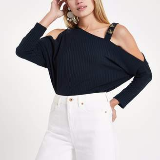 River Island Womens Navy cold shoulder button top
