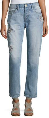 Current/Elliott The Crossover Harrison Jeans W/ Embroidery, Indigo