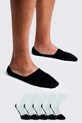 boohoo 5 Pack Invisible Black Socks With Grips