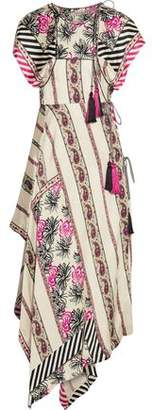 Etro Asymmetric Printed Silk-Satin Twill Wrap Dress