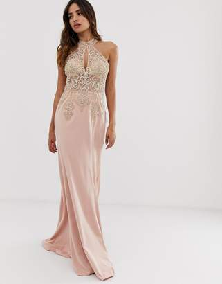 Jovani halterneck fitted maxi dress with embellished detail