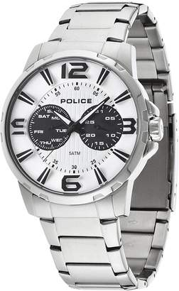 Police Visionary white Dial day date feature stainless steel Mens Watch