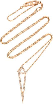 Eva Fehren Dagger 18K Rose Gold and Diamond Pendant Necklace