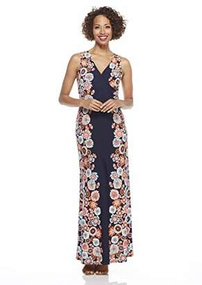 London Times Women's Sleeveless V Neck Side Shirring Maxi Dress