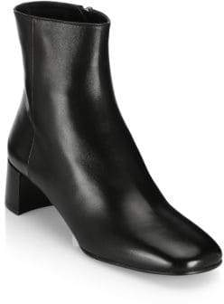 Prada Triangle Logo Heel Leather Ankle Boots