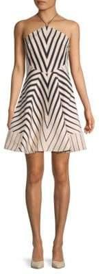 Halston Striped Fit-&-Flare Dress
