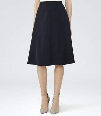 Reiss Bevan - Box-pleat Midi Skirt in Night Navy