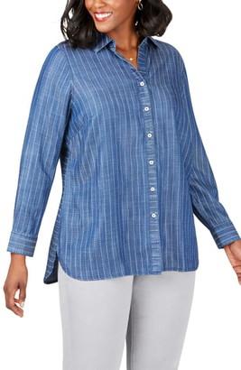 Foxcroft Brycen in Stitch Stripe Tencel® Lyocell Shirt