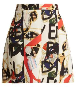 Burberry Graffiti Archive Print Silk Blend Mini Skirt - Womens - Multi
