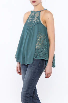 Entro Dusty Blue Lace Top